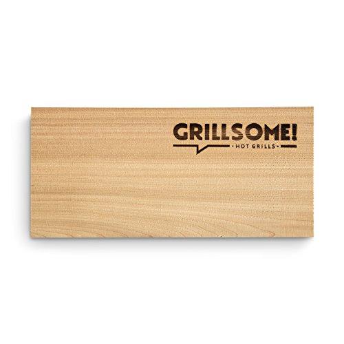 41wBVSWVLkL - 10 Räucherbretter aus kanadischem Zedernholz (30 x 14 x 0,8 cm) von Grillsome! Grillbretter, Grill-Planken 10er-Set (2 x 5er Set glatte und raue Oberfläche) unbehandelt, Grillzubehör für BBQ