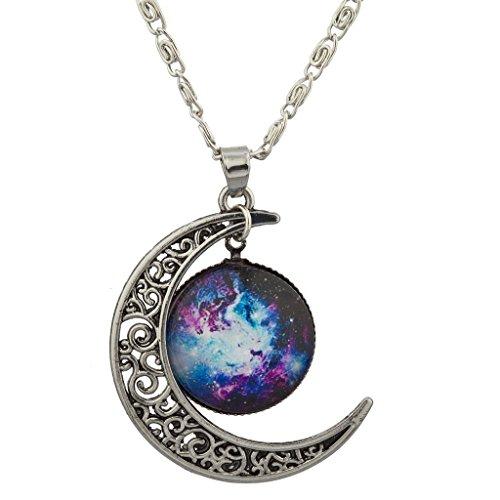 LUX Zubehör Burnish Silber Cabochon Celestial Crescent Moon Charm Halskette (Schwarzer Samt Choker Mit Perlen Edelstein)