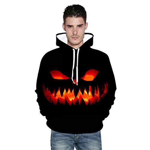 Superheld H&m Kostüm - LRWEY Hoodie Sweater Kapuzenpullover Coat Herren Casual Halloween Horror Kürbis 3D Langarm Print