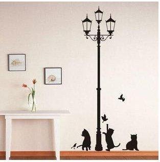 Vinilo-decorativo-pegatina-pared-cristal-puerta-Varios-colores-a-elegir-gatos-debajo-de-la-farola