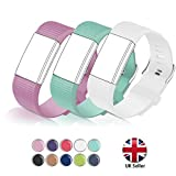 STAY Active Correas de Recambio para Fitbit Charge 2, Reloj Inteligente y Deportivo para Mujer y Hombre | Marca del Reino Unido - Diamante de Silicona (Rosada, Verde Azulada y Blanca – Grande)