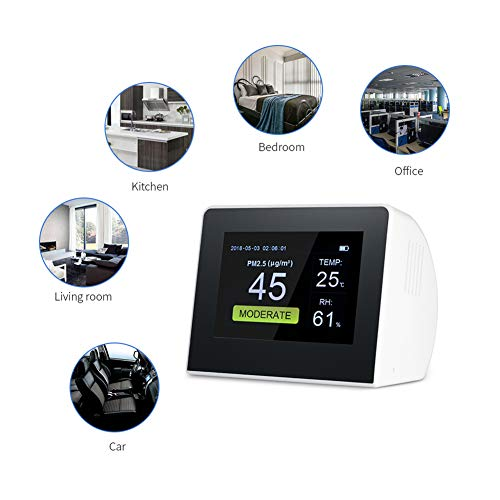 JUZEN Luftqualitätsmonitor Gasdetektor Indoor/Outdoor Digitale PM2.5 / HCHO/TVOC Tester CO2 Meter Monitor Gasanalysator -