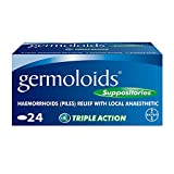 Germoloids Haemorrhoids Treatment & Piles Treatment Suppositories  - with Anaesthetic to Numb the Pain & Itch, Pack of 24