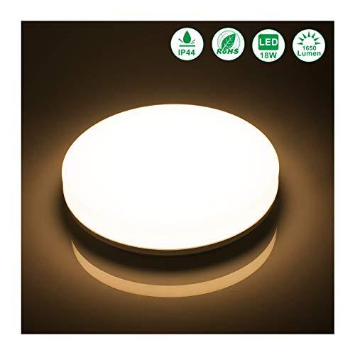 flur deckenleuchte Öuesen LED Deckenleuchte 18W LED Deckenlampe Warmweiss 3000K Wasserfest IP44 LED Badlampe 1650LM für Badezimmer Bad Schlafzimmer Küche Balkon Flur Wohnzimmer