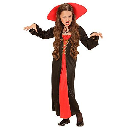 Widmann 00426 - Kinderkostüm Viktorianischer Vampir, Kleid mit Stehkragen, Größe 128, (Vampir Viktorianischer Kostüme)