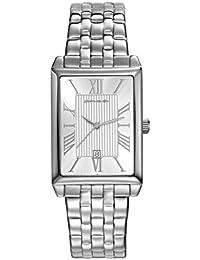 Pierre Cardin Armbanduhr Damenuhr Quarz Uhr PC-Belneuf - Analoge Uhr mit Datum, silbernem Edelstahlarmband und silbernem Zifferblatt - 30m/3atm - PC107212F12