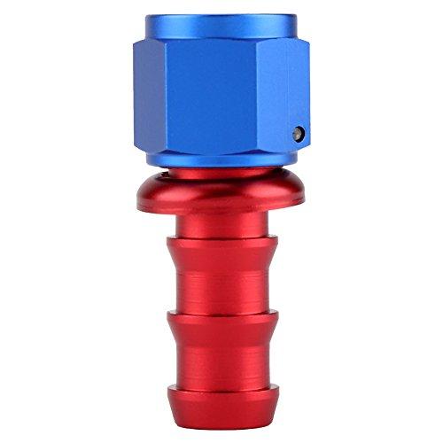 KIMISS AN10 Droite 45 90 180 Degrés Pousser Sur Twist Serrure Huile Gaz Ligne De Carburant Tuyau Extrémité Mâle Raccord En Alliage D'aluminium Bleu et Rouge(0°)