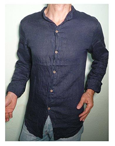 Camicia Puro Lino Taglio Avvitato Slim Collo Coreana Manica Lunga Leggera Fresca Estiva Uomo Ragazzo Blu