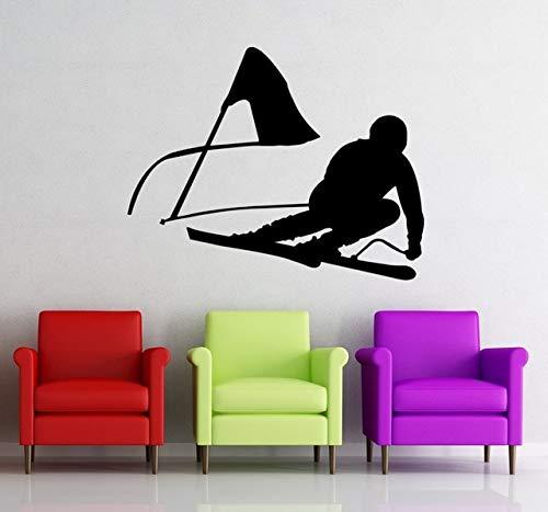 Njuxcnhg Skifahren Wandtattoo Vinyl Wohnkultur Skifahrer Schnee Stil Springen Winter Wandaufkleber Schlafzimmer Extreme Sports Decor Wandbild 57X78 cm