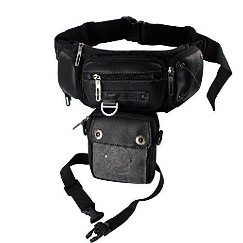 Hengyun New Drop Leg Bag Motorcycle Dirt Bike Cycling Thigh Bum Pack Waist Style F Black
