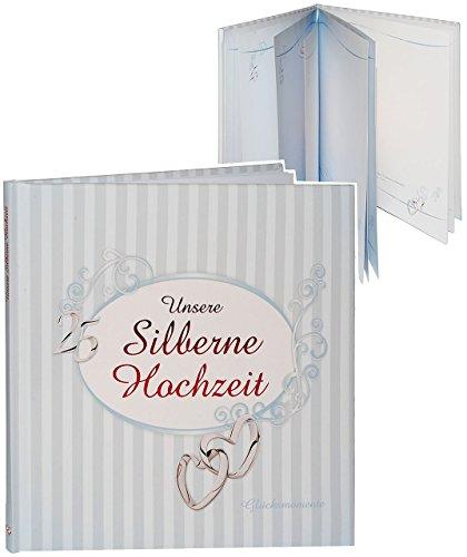alles-meine.de GmbH Erinnerungsalbum / Fotoalbum -  Silberne Hochzeit  - Gebunden zum Einkleben & Eintragen - Glücksmomente Silberhochzeit / Silber - 25 Jahre - fünfundzwanzig-..