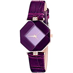 Contever® Women Fashion Rhombus Case Analog Quartz Watch with Rhinestone Decorative PU Leather Band Wrist Watch -- Purple