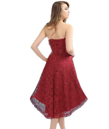 Robe de cocktail en dentelle de corset avec laçage en plusieurs couleurs (2603L) Bordeaux