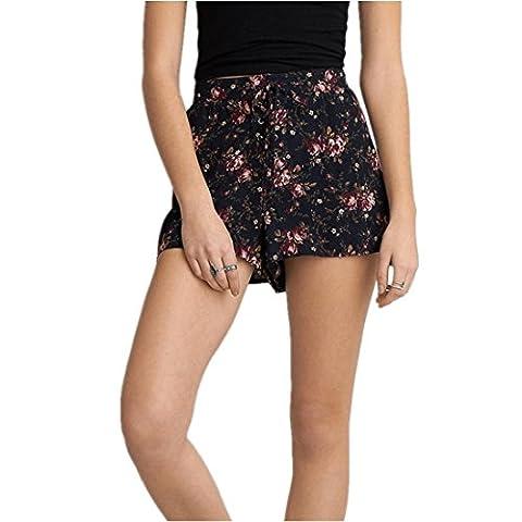 kurze Hose Damen Kolylong® Frauen Sommer gedruckt hohe Taille kurze Hosen lose Strand Shorts Hot Pants elastische sporthosen (L, Marine)