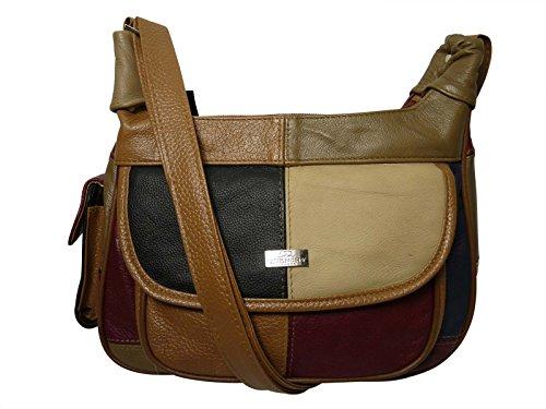 Quenchy London - Femme sac à main patchwork cuir souple à bandoulière QL822