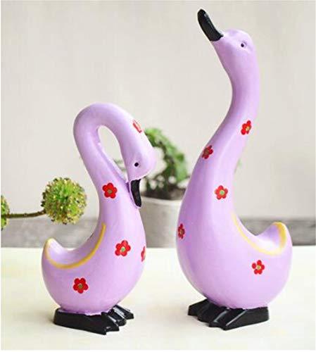 ALILEO Wohnkultur Massivholz Hand Geschnitzt Bemalte Enten Figuren Stil Büro Dekor Tier Ornamente Figur, D -