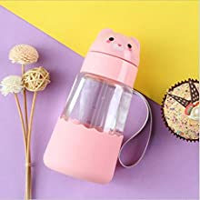 Glass Water Bottle Animal Design Water Cup with Straw for Kids Children Cute Simple Design 100% BPA Free Non Toxic for Hot and Cold Water Eco Friendly Reusable Drinking Small Bottle 350ml