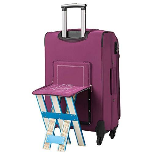 Reise-Rollenkoffer Stilvolles Gepäck, Faltbarer, Abnehmbarer Sitzkoffer, Leichter und langlebiger Passwort-Koffer by Gorkuor (Farbe : Purple, Größe : 24)