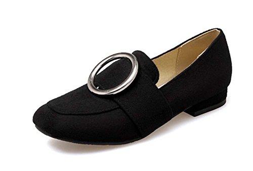 NobS Pattini Slip-On del metallo rotondo femminile dei pattini di grande formato della pelle scamosciata del tallone 40-43 Black