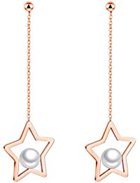 YIXUYU Women's Drop Earrings with Stars Black and Rose Gold Stainless Steel