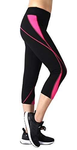 Neonysweets Womens Capri Workout Pants Yoga Pants Active Leggings Black Rose M