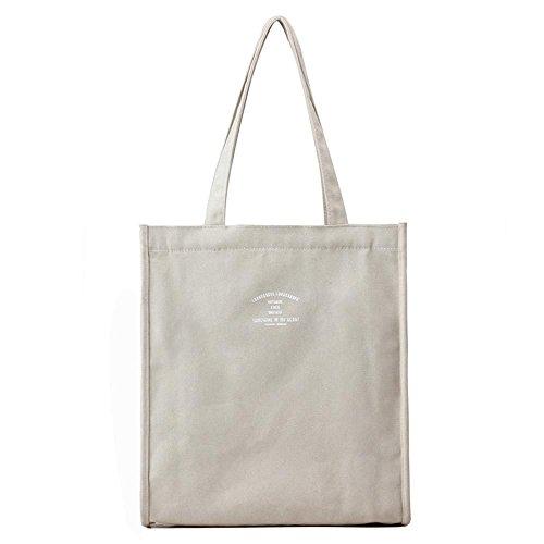 Le signore della tela di canapa sacche di acquisto di spalla di grande capacità Beige