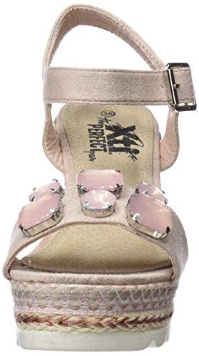 XTI Damen 47775 Knöchelriemchen Sandalen Pink (Nude)