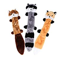 Caerling 3Pcs Pet Sounding Toy Pet Molar Toy Toy Sound Plush Toys Raccoon Squirrel Dog Toy Pet Puppy Plush Sound Chew Squeaker Squeaky (One size, Colorful)
