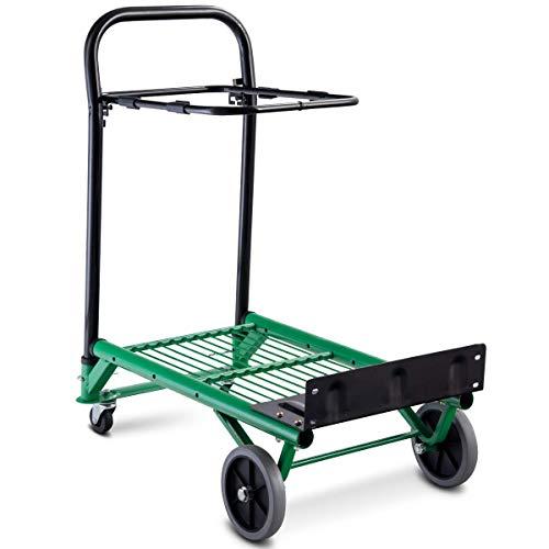 Costway carrello porta scatole manuale, portapacchi carrello per trasporto di sacchi in acciaio, pieghevole, capacità di carico fino a 90 kg