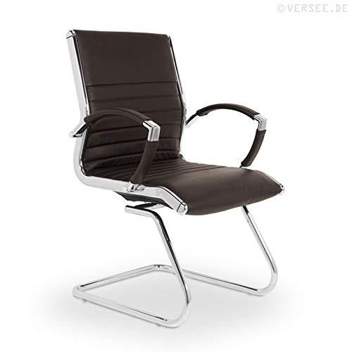 VERSEE Design Besucherstuhl Montreal -- Echt-Leder -- braun -- Konferenzstuhl, Freischwinger, Schwingstuhl, Meetingstuhl, Besprechungsstuhl,...