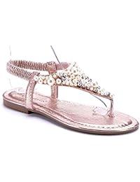 Schuhtempel24 Damen Schuhe Zehentrenner Sandalen Sandaletten Grün Flach Ziersteine