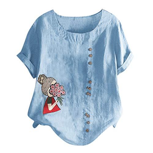 UYSDF Frau Beiläufig Plus Größe O Hals Gedruckt Lose Taste Hemd Sommer Mode Bluse Tops