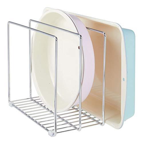 mDesign Geschirrablage aus Metall für Backbleche – kompakter Topfdeckelhalter für den Küchenschrank – platzsparender Ständer für Kochgeschirr – silberfarben