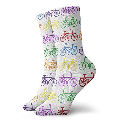 ouyjian Oberschenkelhohe Socken Bunte Fahrradkniestrümpfe 30cm