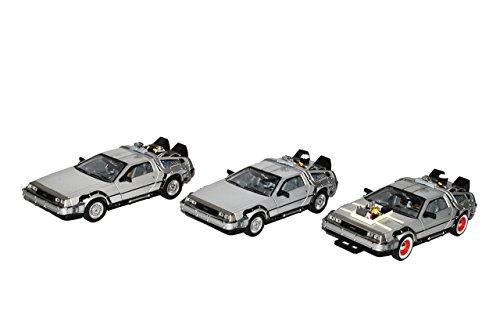3er Set DeLorean 1 und 2 und 3 DMC Zurück in die Zukunft 3 Teile 1/24 Welly Modell - Zurück 3