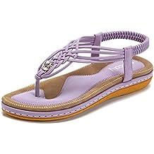 Socofy Sandales Plates Femmes, Chaussures de Ville Été à Talons Plats Tongs  Claquettes Entredoights avec 1250caf63d23