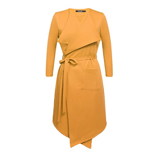 CRAVOG Damen Herbst Winter trenchcoat Lang Mantel Mit Gürtel Übergangs Jacken Outwear Gelb