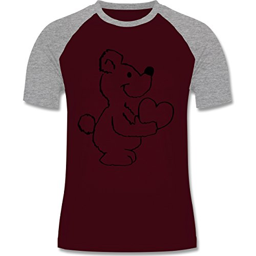 Romantisch - Herzbär - Herren Baseball Shirt Burgundrot/Grau meliert