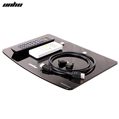 UNHOGlas Wandregal Schwarzes Glasregal wandregal TV Rack Wandhalterung für Sky Box DVD Player PS4...