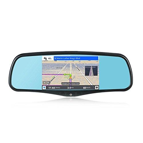SmarTure 5'' Smart Android Rückspiegel Quad Core mit GPS Navigation/Rückspiegel/SAT NAV, Autokamera, WIFI, Rückfahrkamera, Bluetooth, 1GB RAM 8GB ROM 32GB-Karte,Halterung #1 #3 #7 für Honda,Toyota,Ford,V.W.,Lexus,Mazda,und mehr