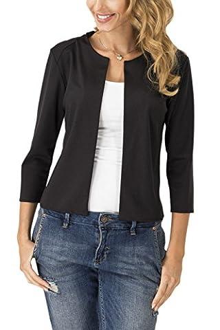 Women Solid 3/4 Sleeve Open Front Cardigan Office Short Blazer Jacket Black S