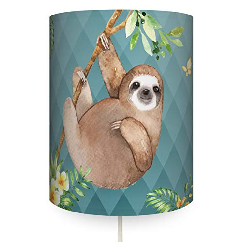 Blaue Decke-wand-licht (anna wand Wandlampe FAULTIER BLAU - Runder Wandlampenschirm mit Stoffkabel zum Aufhängen für Kinder/Baby Lampe mit Faultier - Sanftes Licht im Kinderzimmer Mädchen & Junge)