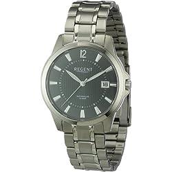 Regent 11090283 - Reloj analógico de cuarzo para hombre con correa de titanio, color gris