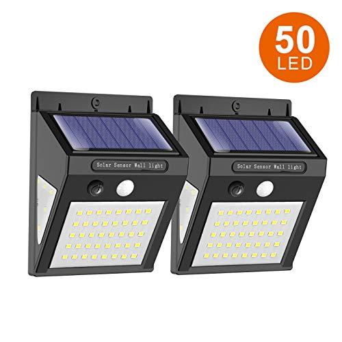 ERAY Luz Solar Exterior 50 LEDs 350 Lúmenes con Sensor de Movimiento, 270° Gran Ángulo de Iluminación, IP65 Impermeable, Luz de Seguridad con Sensor de Movimiento para Jardín, Terraza, Camino (2 PCS)