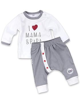 Baby Set Erstausstattung Hose + Shirt weiß grau | Motiv: I Love Mama & Papa | Marke: Baby Sweets | Babyset 2 Teile...