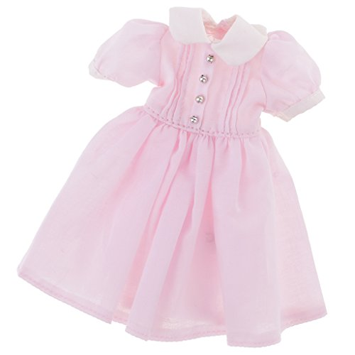 MagiDeal 12,5cm Schöne Puppen Kleid Kleidung Outfit für 1/6 Blythe Puppe Dress up - Pink (Doll Dress Up Kostüm)