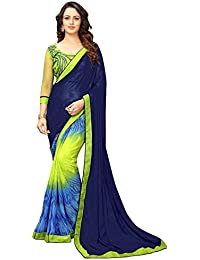 Online Fayda Women's Georgette Saree (Of228_Blue & Parrot)