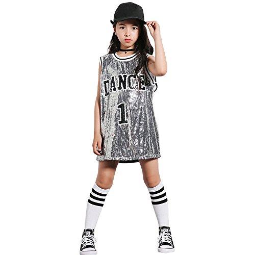 Mädchen Pailletten-Kostüm Hip Hop Dancewear Sparkle ärmelloses Trägershirt-Kleid (Silber-, 140)