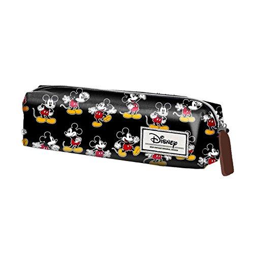 Mickey Mouse- Estuche portatodo Cuadrado, Color Negro, 22 cm (Karactermanía 33612)