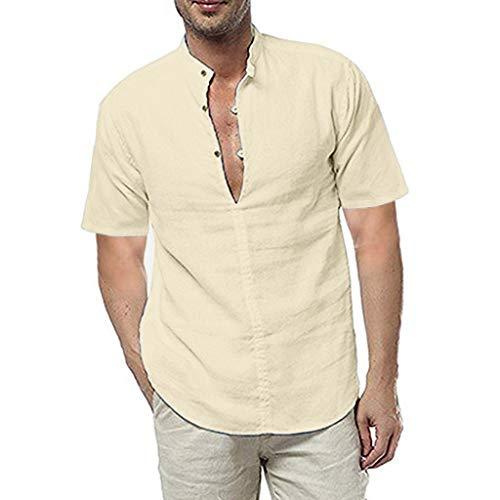 UINGKID Herren T-Shirt Kurzarm Slim fit Leinen Sommer Solide Shirts Beiläufige Lose Kleid Soft Tops T -